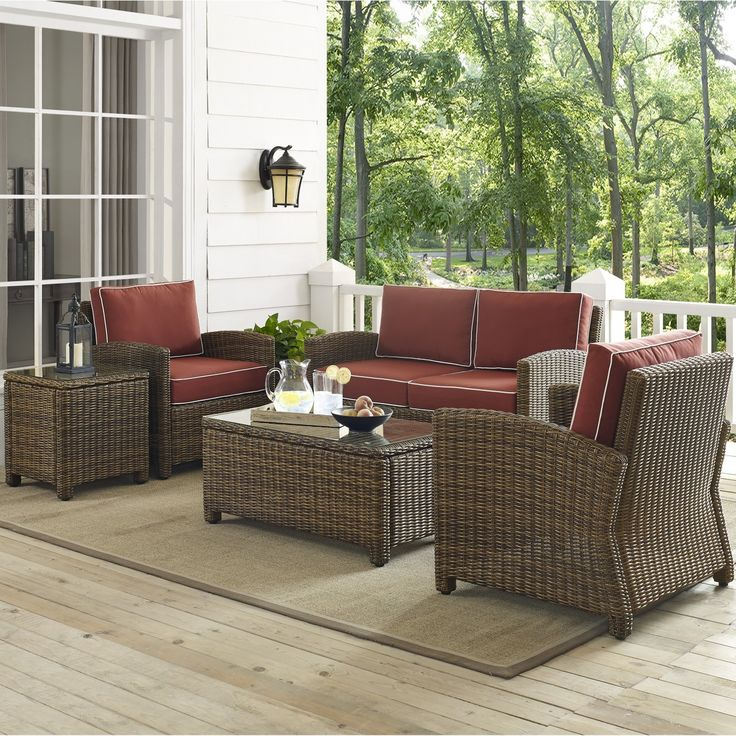 Bradenton 5PC Wicker Conversation Set W/ Sangria Cushions By Crosley
