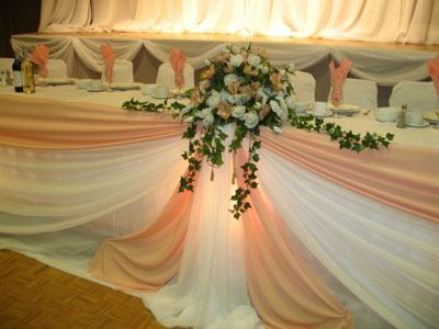 traditional head table draped in pink and white you can do any color you want