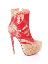 Yellow Animal Print PU Leather Zip Closure Womens High Heel Booties  $57.99