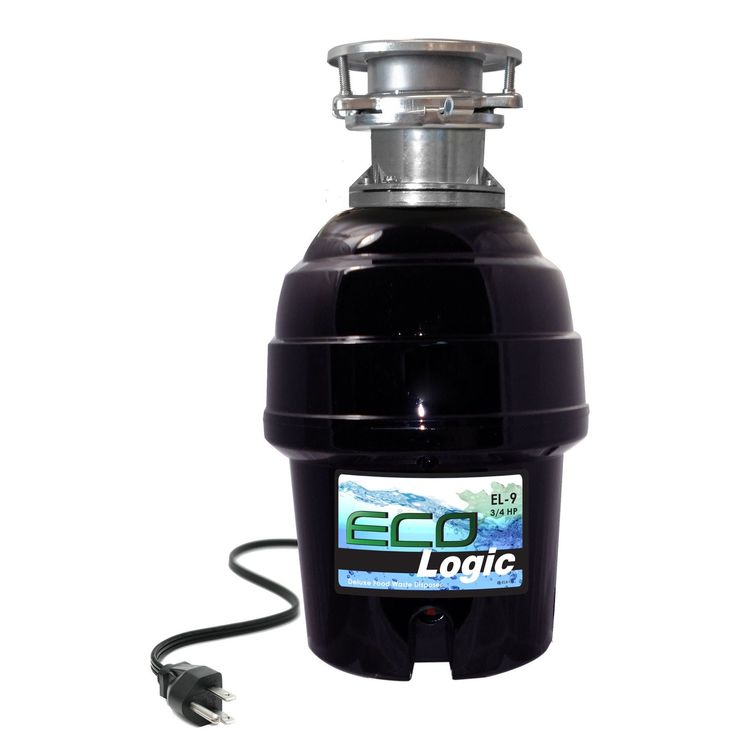 3/4 HP Eco-Logic 9 Deluxe Food Waste Disposer (Batch Feed) (EL-9-3B-BF), Black