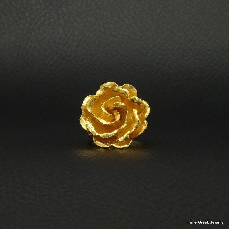 BIG LUXURY ROSE 925 STERLING SILVER 22K GOLD PLATED GREEK HANDMADE ART RING #IreneGreekJewelry