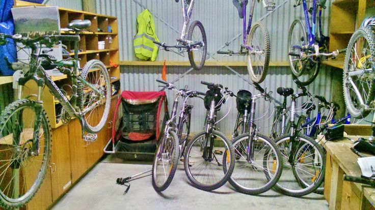 The Gates Accommodation cycle fleet. Electric, normal, children's bikes plus babyseat, trailer