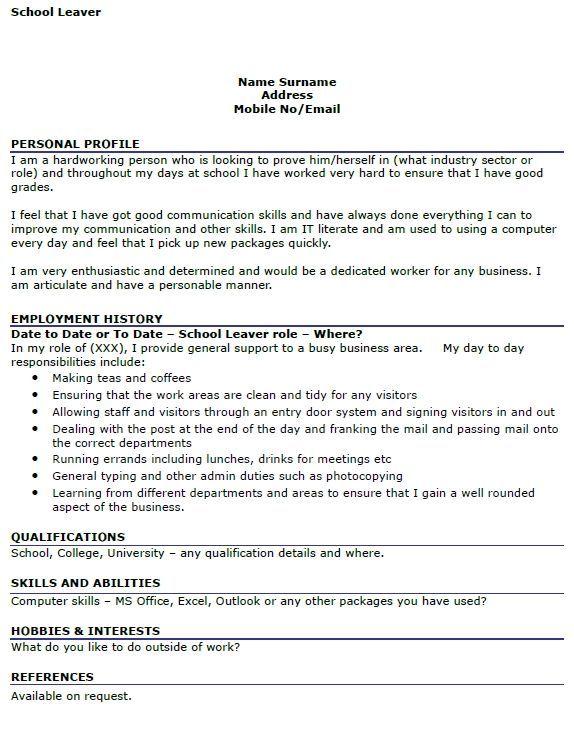 Cv Template School Leaver Cvtemplate Leaver School Template School Leavers Resume Examples Basic Cv Template