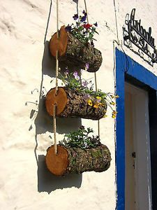 Log planter / Log Flower Basket /Wooden Rustic Log Flower Ladder | eBay