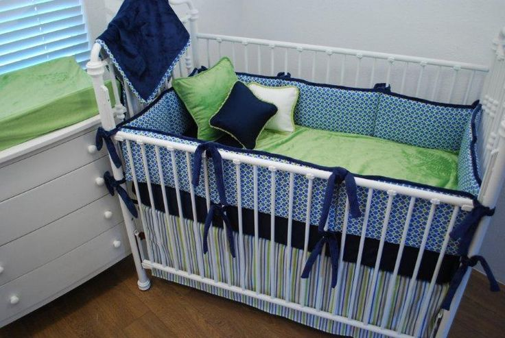 Blue and navy crib bedding with green velour blanket and - Navy blue and green bedding ...