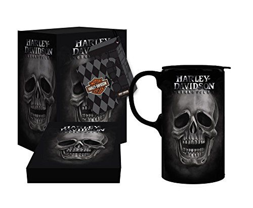 Harley Davidson Skull Tall Travel Coffee Mug 20 Ounces H