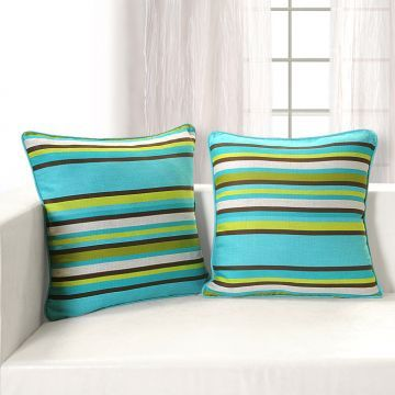 Swayam Striped Vibrant Color Blue And Green Cushion Cover