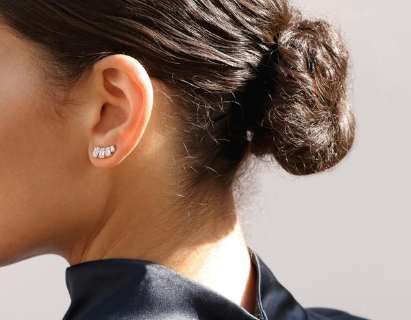 Emerald 4 Diamond Ear Arc Arc Earrings Diamond Star Earrings Tiny Stud Earrings