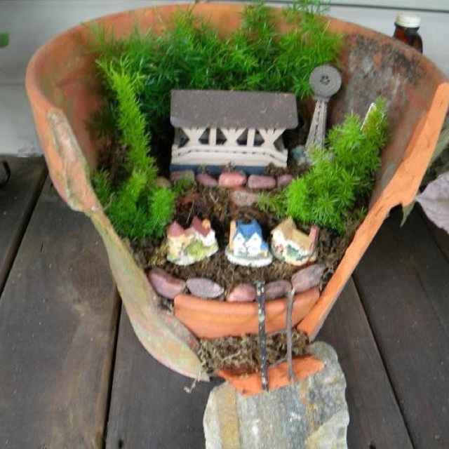 Incredible Broken Pot Ideas Recycle Your Garden: Fairy Garden. Made Out Of A Broken Clay Pot And Some
