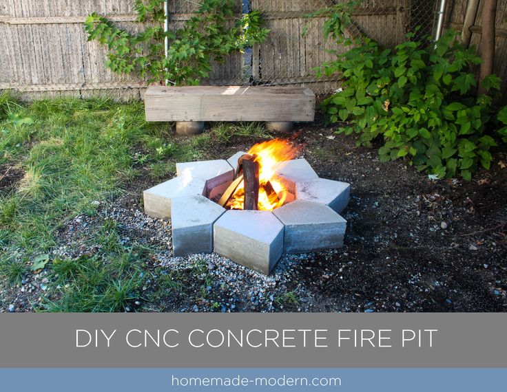 This modular modern concrete fire pit was made from Quikrete 5000 and cost less than $120 to build. The forms for the pieces were made with a small CNC machine. For more information go to HomeMade-Modern.com