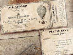 Vintage Hot Air Balloon Wedding Ticket by Christine Taylor 2B