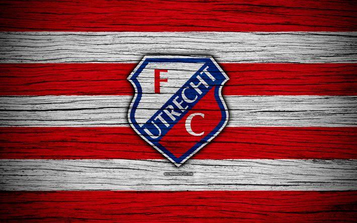 Download wallpapers Utrecht FC, 4k, Eredivisie, soccer, Holland, football club, Utrecht, wooden texture, FC Utrecht