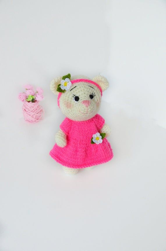 Crochet stuffed teddy bear, amigurumi bear doll, soft toy for toddler