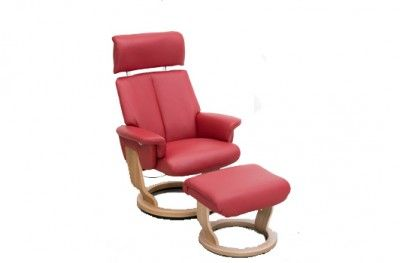 Balance hvilestol Small stuffed armchair red leather danish design hjort knudsen www.helsetmobler.no