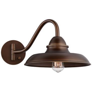 "Bowdon Bronze 10"" High Plug-In Edison Sconce"