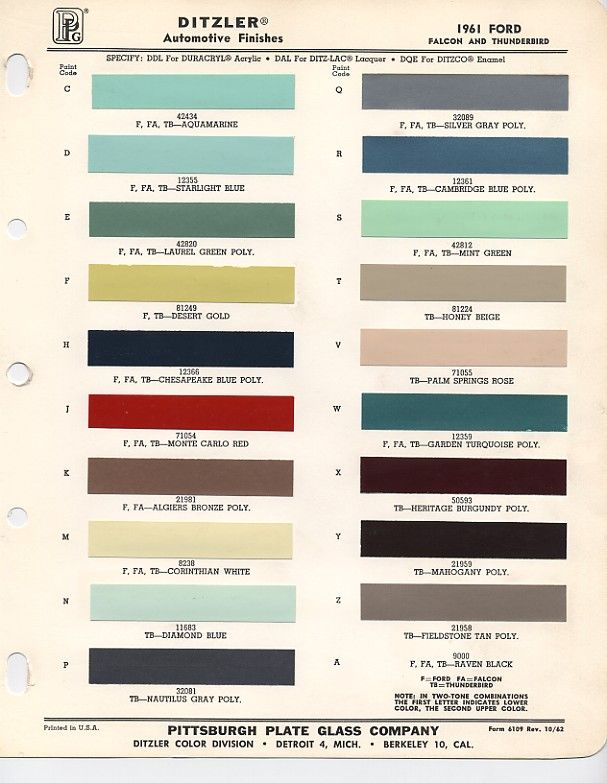 1961 ford color chips ford falcon pinterest colors - Colour charts for interior painting ...