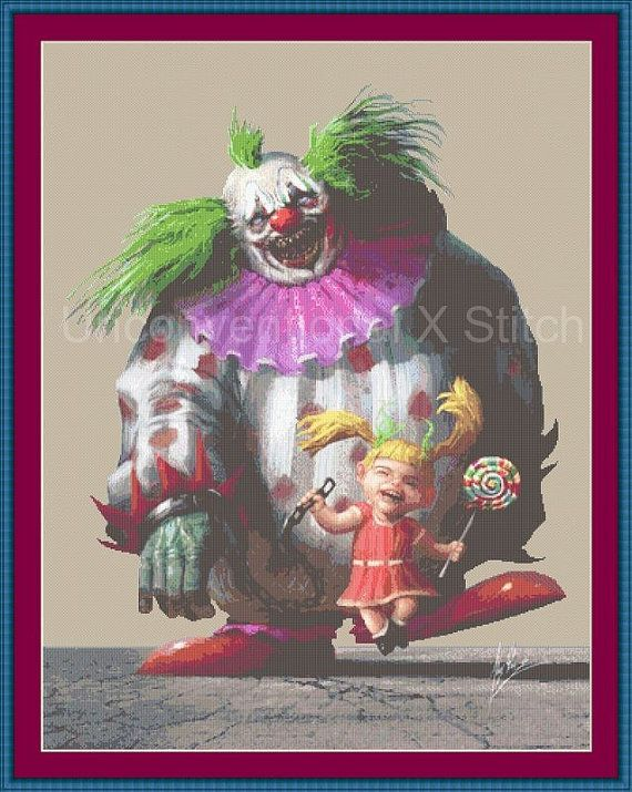 Lollipop creepy clown and girl counted cross stitch kit - aida, needle, DMC and pattern