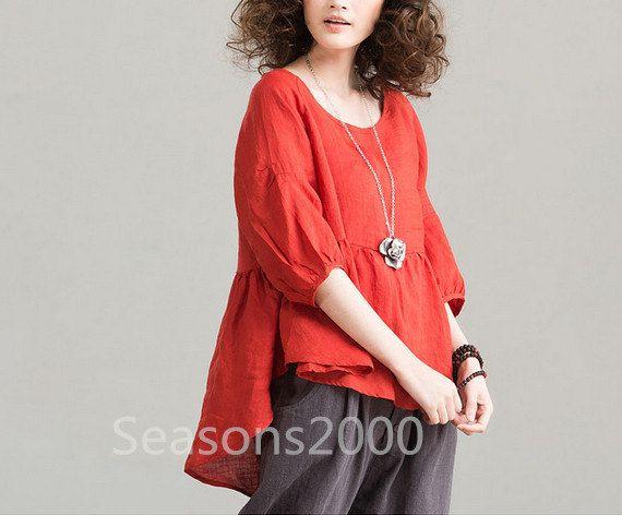 Women orange linen shirt  Lantern Long sleeve shirt by seasons2000, $49.00