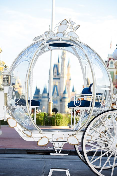 Cinderella's Coach arrives to a wedding ceremony at the Walt Disney World Railroad Train Station
