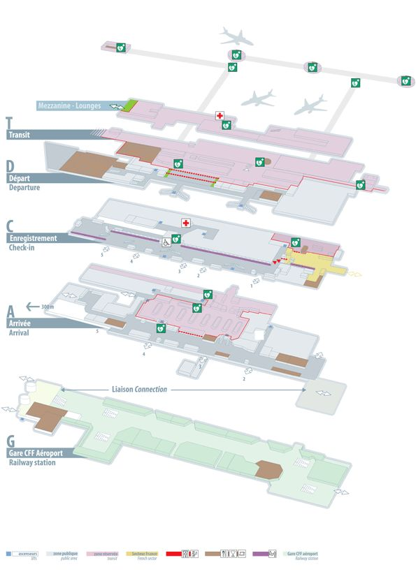 #Geneva airport map - the airport railway is located at the bottom most level but the entrance is in the building next door