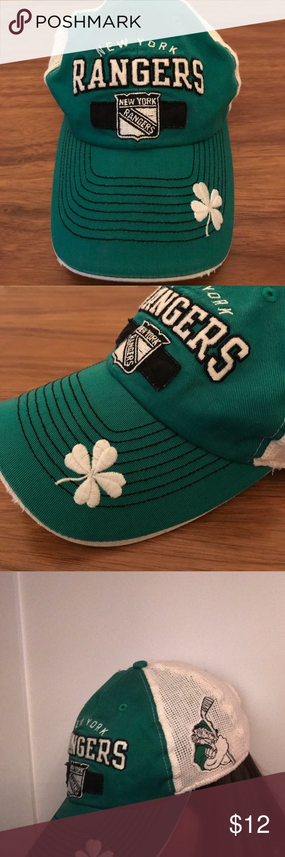 Luck of the Irish New York Rangers hat -womens Luck of the Irish New York Rangers hat -women's • has snap back for size • I cannot recall ever wearing it, it's been in storage for 3 years - EUC, has a natural distressed look • back is a cotton soft mesh • NHL 'Old Time Hockey' line • perfect for the Irish Gal Ranger's fan! NHL Accessories