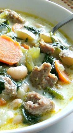 Italian Sausage, Potato & Spinach Soup