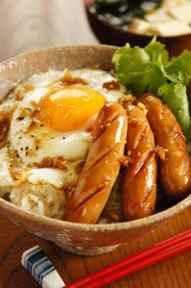 Japanese sausage and egg over rice with ginger, mirin sauce