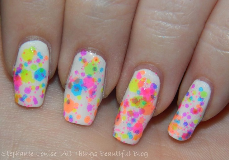 Lush Lacquer Nail Polish in Clowning Around Swatches & Review! http://stephanielouiseatb.blogspot.com/2013/06/lush-lacquer-nail-polish-in-clowning.html #nails #nailart #neon #glitter #summer #bright #nailpolish