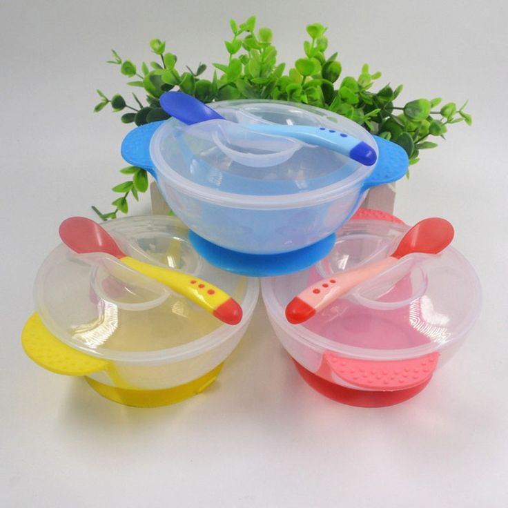 High Quality Baby Kids Child Feeding Lid Training Bowl with Spoon Baby Feeding Tableware Children Plate Sucker Bowl 3 Color | baby feeding | Bajby.com - is the leading kids clothes, toddlers clothes and baby clothes store