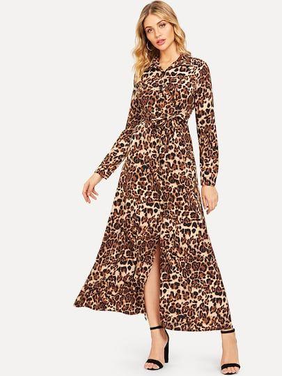 7e5dfc3621e6 Leopard Print Slit Hem Shirt Dress in 2019   New Arrivals in Dec ...