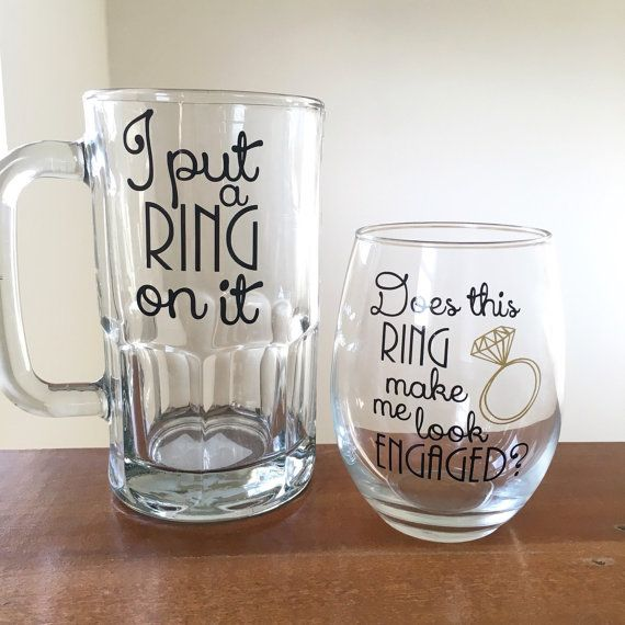 Couples engagement gift I put a ring on it beer mug does this ring make me look engaged wine glass couples wedding set engagement party