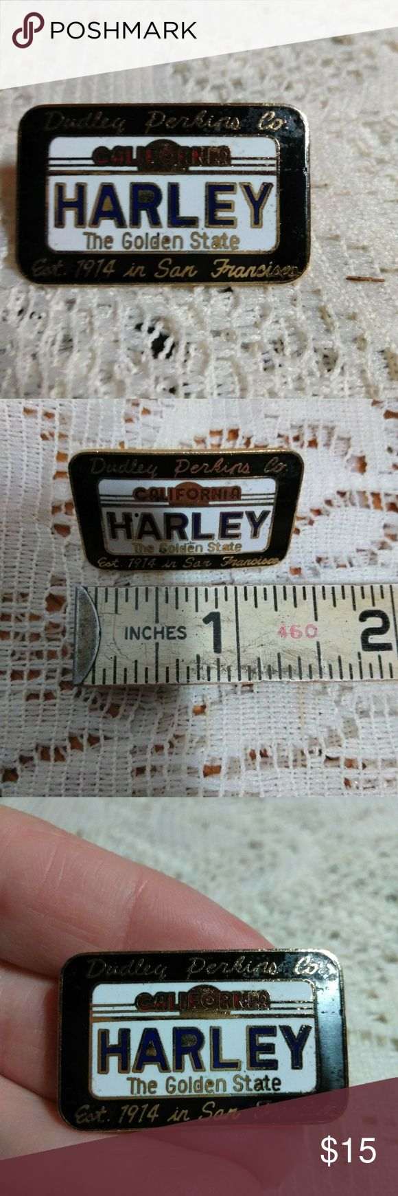 Vintage Dudley Perkins Harley Davidson Pin Vintage Dudley Perkins Co established in 1914 San Francisco Dealership Pin. Styled after California The Golden State Licence Plate. I'm good condition. No post screw for pin, but can easily use existing one or purchase replacement. Price reflects this. Collectors item. Smoke free home. Fast shipping. Harley-Davidson Jewelry