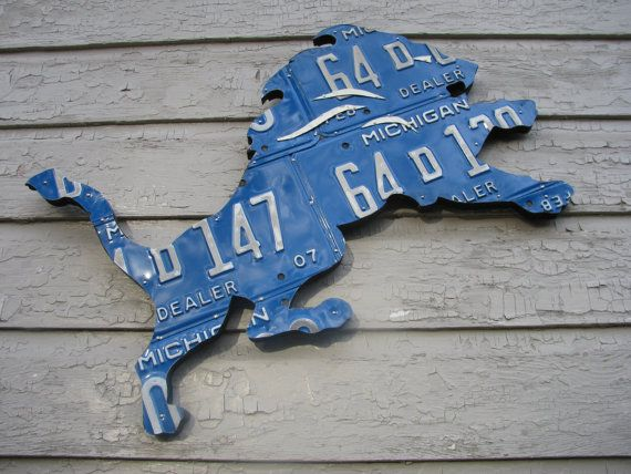 Detroit Lions Metal License Plate Art by LicensePlateDesigns, $75.00