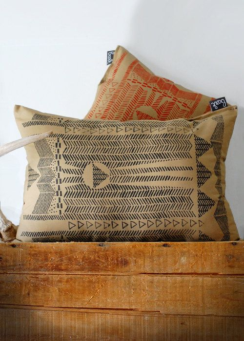 Going Hunting - Black and Cornstalk - Hand Printed Pillow - by Bark Decor