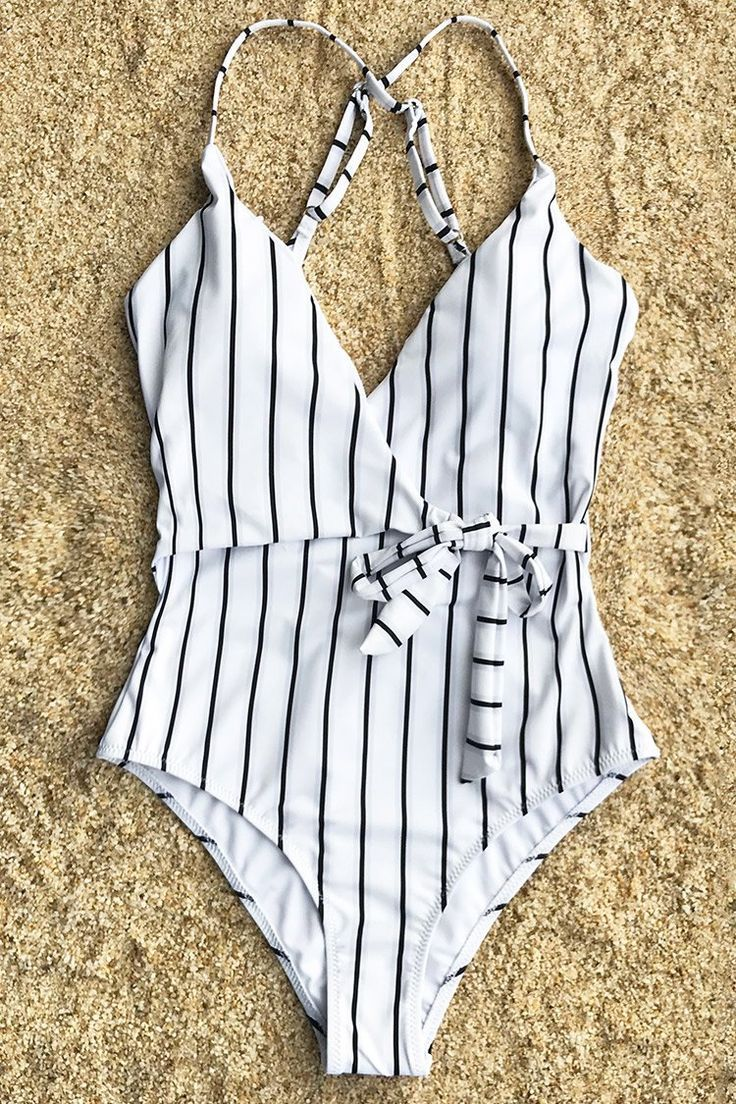 Maillot de bain : Cupshe Stay Young Stripe One-piece Swimsuit