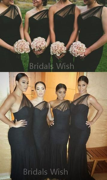 Charming Black One Shoulder Sweet Heart Long Bridesmaid Dresses , BW0515 Charming Black One Shoulder Sweet Heart Long Bridesmaid Dresses , BW0515