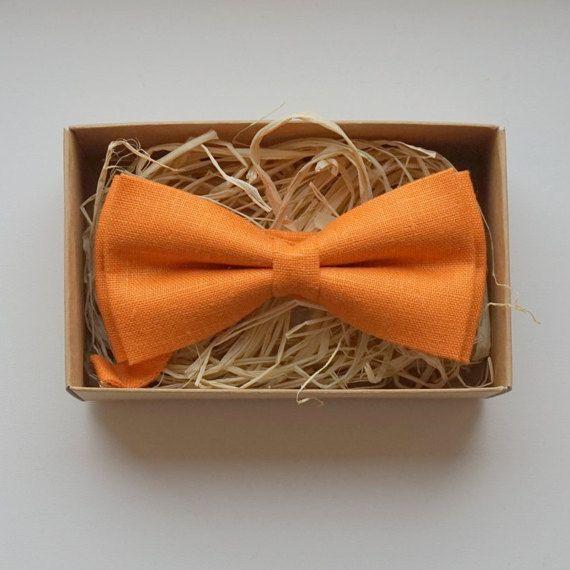 Orange linen bow tie Orange tie for wedding mens bow by Luwrine