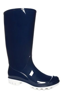 Festival Essentials: Cleated White Sole Navy Wellies.
