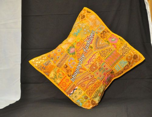 """Indian Traditional Handmade Patchwork Ethnic Embroidery Vintage Pillow Cover 24"""""""