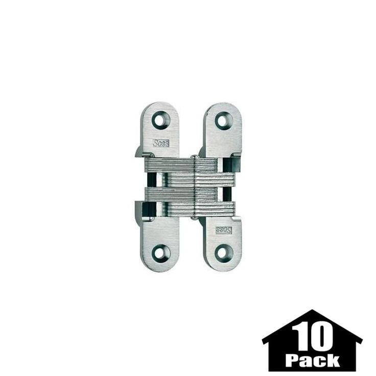 "Soss 216-10PACK 4-5/8"" High Invisible Hinge for Heavy Duty - 10 Pack Satin Chrome Cabinet Hinges Inset Hinges Invisible Hinges"