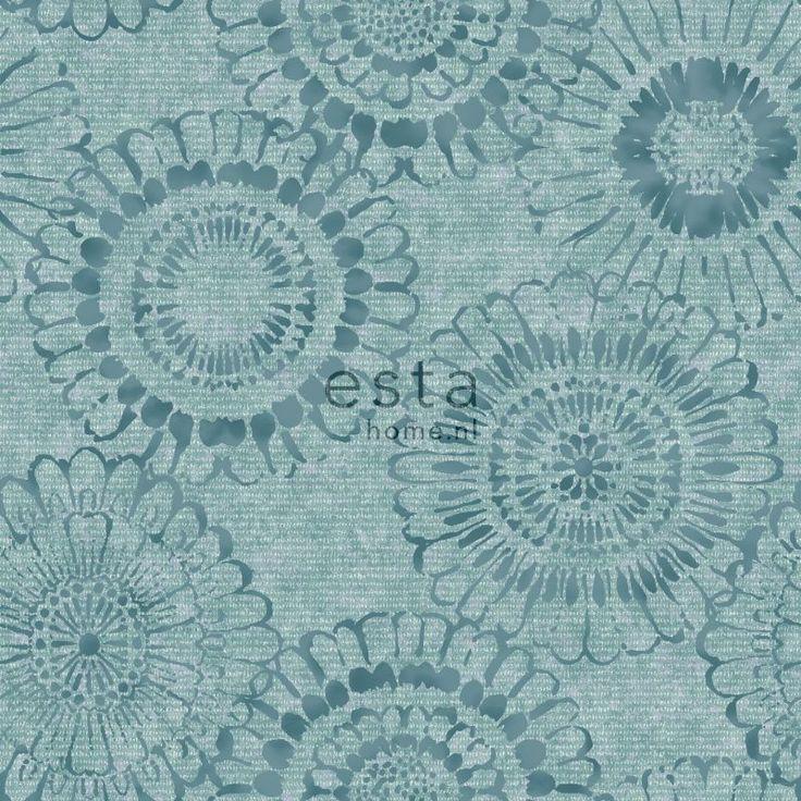ESTAhome.nl - maak je huis gezellig! krijtverf eco texture vliesbehang bloemmotief aqua groen behang, fotobehang, gordijnstof en dekbedovertrekken