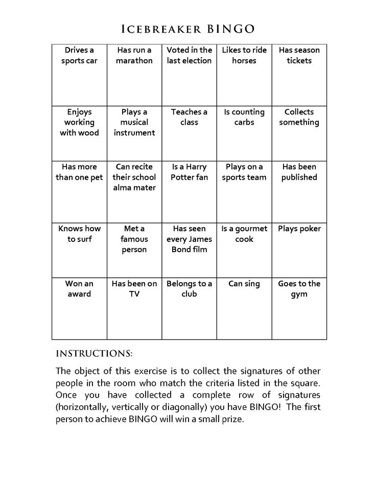 People Bingo Rules  Cards \u2013 Icebreaker Ideas in Ice Breaker Bingo