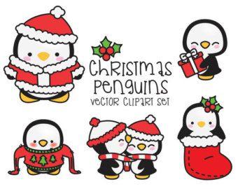 Premium-Vektor Clipart – Kawaii Geburtstag Pinguine – Geburtstagskind Pinguine Clipart Set – hochwertige Vektoren – Kawaii Weihnachten ClipArts