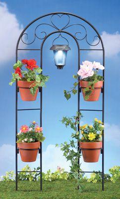 Solar Metal Scroll Garden Plant Holder And Trellis Home Decor Catalogsplant