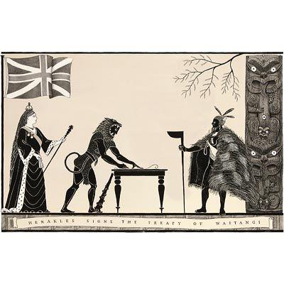 'Herakles signs the Treaty of Waitangi' by Marian Maguire