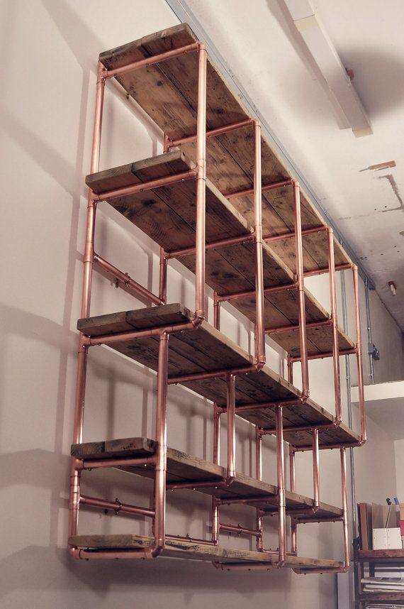 large 5 shelf stepped design 28mm copper pipe and reclaimed wood shelving unit wall mounted - Shelving Units Ideas