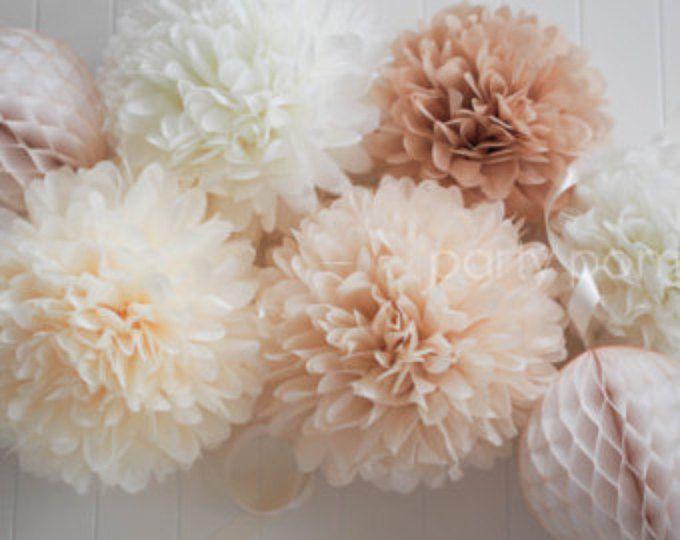 NEUTRALE weefsel poms / / bruiloft decoratie / / baby douche
