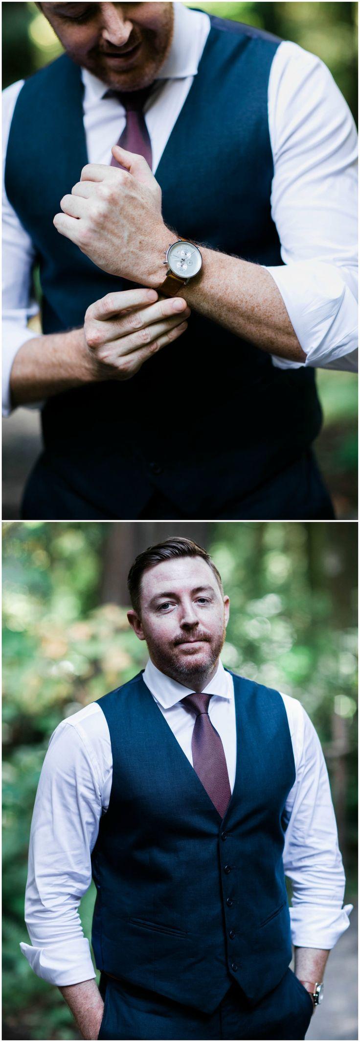 Casual groom attire, purple tie, navy vest, watch, Seattle groom // Adina Preston Weddings