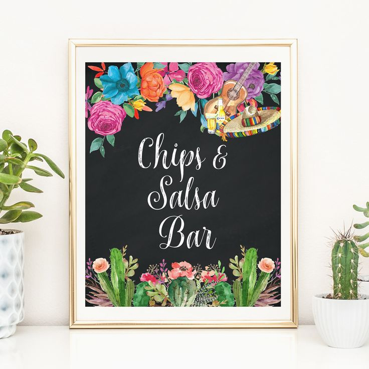 Fiesta Chips And Salsa Bar Sign Printable Mexican Themed