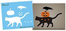 Estêncil Estrelas De Gato Halloween Jack O LANTERN ABÓBORA primitivo Crow sinais de país